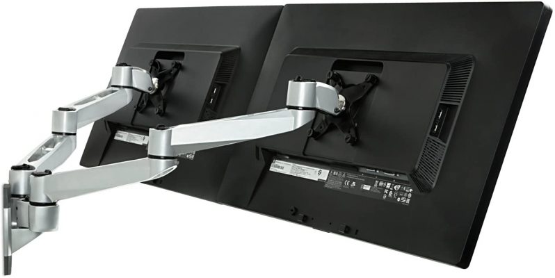 Mount-It! Dual Full Motion Monitor Wall Mount, Compatible with VESA 75 and 100, Fits Computer Screens 19, 20, 21, 24, 27, 30 Inches, Silver (MI-43114)