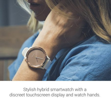 Garmin vivomove HR, Hybrid Smartwatch for Men and Women, Black/Rose Gold with Black Silicone Band