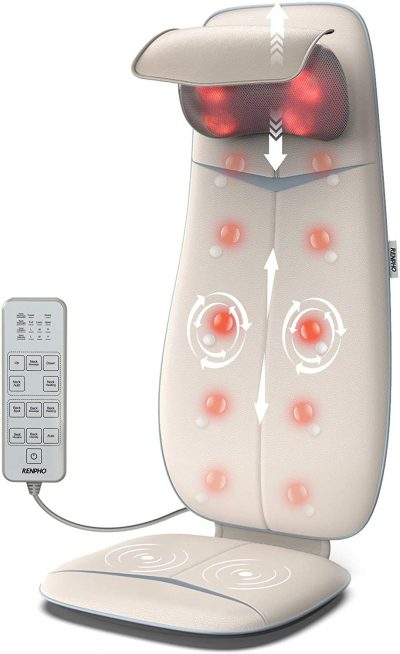 RENPHO Shiatsu Neck and Back Massager with Heat, Height Adjustable Shoulders Rolling Massage Chair Pad for Lower Back, Massage Cushion for Full Body Fatigue Relief, Seat Massage Vibration for Relax
