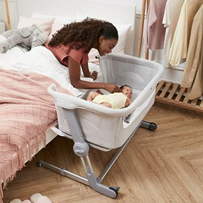 Unilove Bassinet and Bedside Sleeper, Hug Me Plus | Portable Travel Crib Includes Carry Bag, Mattress, Breathable Sheet and 7 Height Adjustments, Shadow Gray