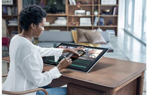 """Microsoft Surface Studio All-in-one 28"""" 4500x3000 Touchscreen w/Surface Dial, i5, 8GB RAM, 64GB SSD+1TB HDD AIO PC, 4 Cores up to 3.50 GHz CPU, GTX 965M, Pen, Keyboard, Mouse, Win 10 Pro (Renewed)"""