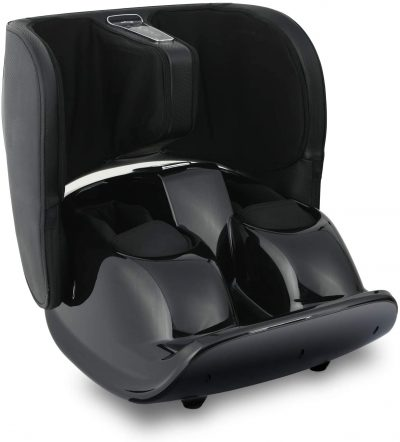 Nager Foot and Calf Massager Multidimensional Airbag Massage with Constant Temperature Care and Unique Calf Air Compression Double-Screen to Display for Easy-Control Massager,Black