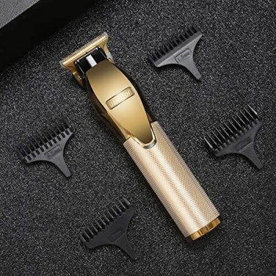Professional Rechargeable Hair Trimmer Portable Shaver Pro Gold Skeleton Stainless Steel All Metal Housing Outlining Cordless T-blade Hair Clipper Trimmer Shaving for Men Kids Baby Stylists Barber