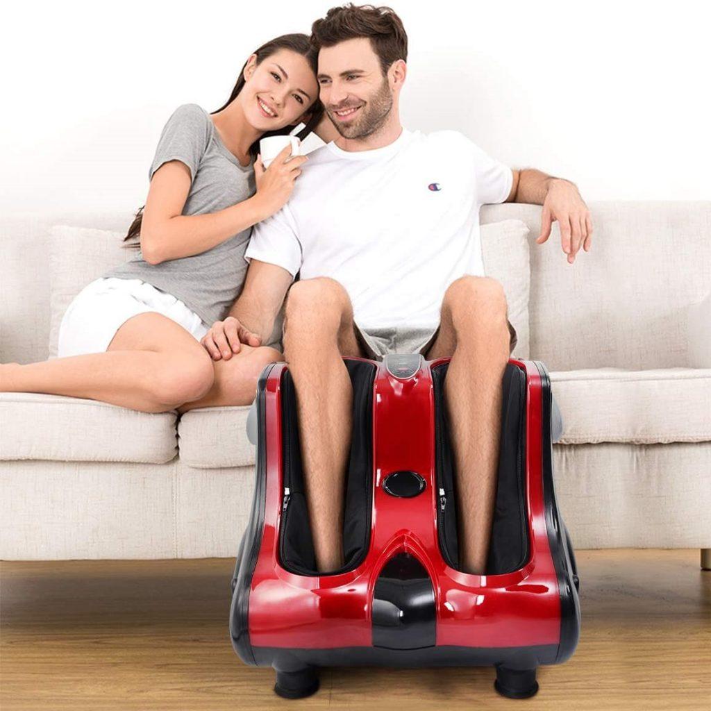 Giantex Foot Calf Leg Massager Machine, Shiatsu Kneading Rolling Vibration Heating, Deep Kneading Massage Therapy, Electric Foot Massager w/ Heat for Tired Feet, Leg, Calf