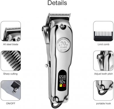 Professional Barber Hair Clippers Cordless Hair Trimmer Haircut Grooming Kit with Stainless Steel All Metal Housing for Men Barbershop Beard Trimmer Rechargeable LED Display