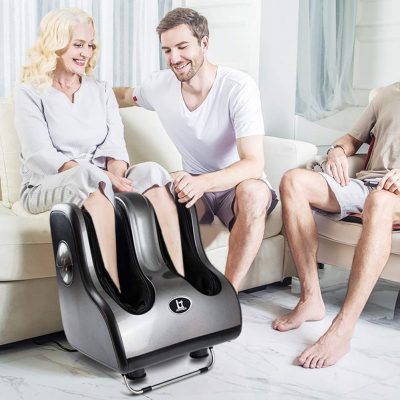 Foot Massager Machine Shiatsu Leg Calf Massager with Heat, Vibration, Kneading, Rolling Heating Personal Health Studio Kneading Tapping Air Compression Pressure Feet Massage for Full Relief