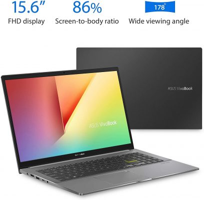 """ASUS VivoBook S15 S533 Thin and Light Laptop, 15.6"""" FHD Display, Intel Core i5-10210U CPU, 8GB DDR4 RAM, 512GB PCIe SSD, Windows 10 Home, Indie Black, S533FA-DS51 (Renewed)"""