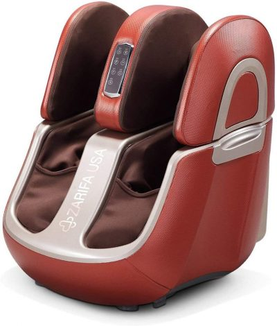 Zarifa USA Z-Smart Electric Shiatsu Spa Foot and Leg Massager with 90 Degree Swing for Knee, Calves and Upper Thigh, Integrated Jade Stone Heat Rollers and Airbag Compression, Cherry