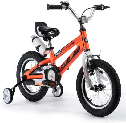 RoyalBaby Kids Bike Boys Girls Space No. 1 Aluminum 3-9 Years Old 12 14 16 18 Inch Training Wheels Kickstand Black Red Orange Kids Bicycle