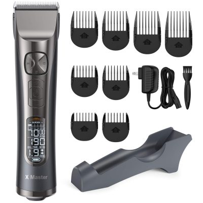 Roll over image to zoom in Hair Clippers for Men Professional Hair Cutting Kit Cordless Trimmer with LCD Display 250 Minutes Run Time, 5 Speed Adjustment, 8 Guide Combs for Barbers and Stylists, OPOVE X Master