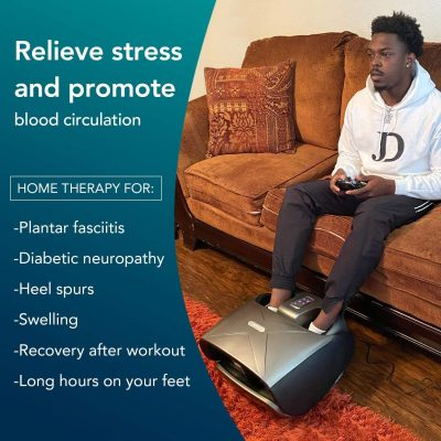 Naipo Foot and Calf Massager Foldable Machine Shiatsu Rolling Tapping and Air Compression Feet Massage with Heat, Leg Beautician Massager