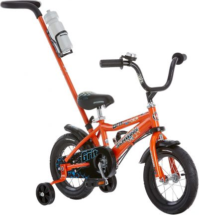 Schwinn Grit and Petunia Steerable Kids Bike, Boys and Girls Beginner Bicycle, 12-Inch Wheels, Training Wheels, Easily Removed Parent Push Handle with Water Bottle Holder, Multiple Colors
