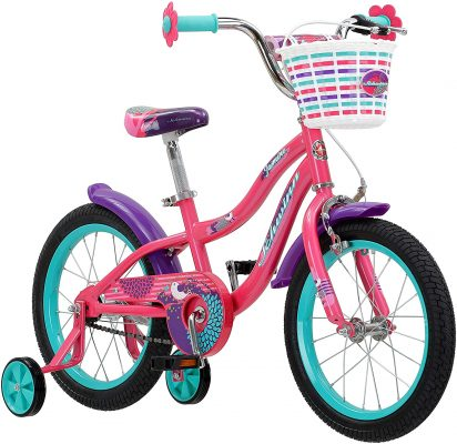 Schwinn Jasmine Girls Bike with Training Wheels, 16-Inch Wheels, Multiple Colors