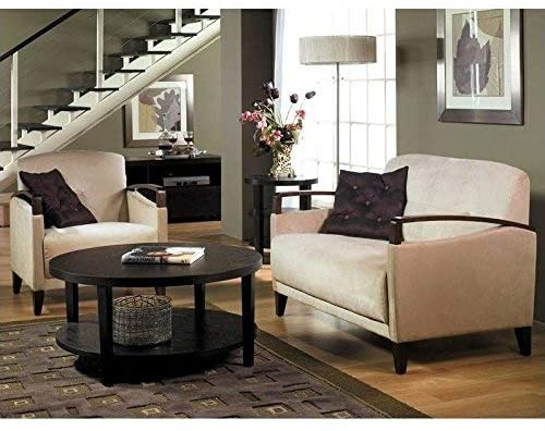 OSP Home Furnishings Merge Round Coffee Table, 36-Inch, Espresso