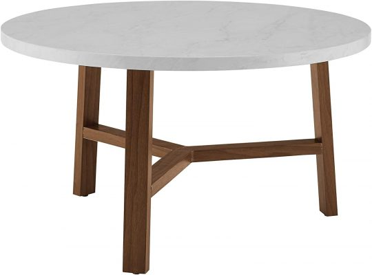 Walker Edison Furniture AZF30EMCTPC Mid Century Modern Round Coffee Accent Table Living Room, 30 Inch, White Marble, Brown