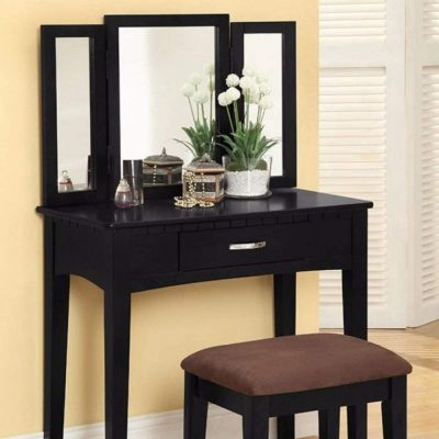 Benjara Wooden Vanity Set with Three Sided Mirror and Padded Stool, Black,
