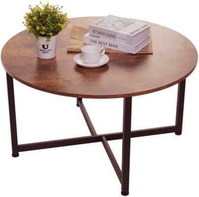 USIKEY Round Coffee Table for Living Room, Retro Cocktail Table with X Base9 Metal Frame, Sofa Table, Office Table, Entertainment Center for Gaming, in Home Office, Rustic BrownYCFZ006F-