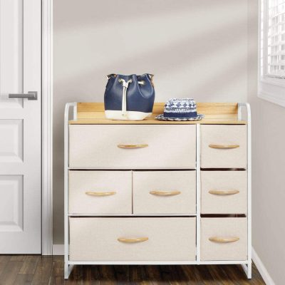 mDesign Wide Dresser Storage Chest, Sturdy Steel Frame, Wood Top & Handles, Easy Pull Fabric Bins - Organizer Unit for Bedroom, Hallway, Entryway, Closet - Textured Print, 7 Drawers - Cream/White