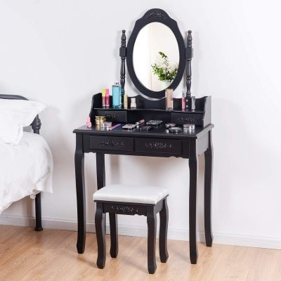 SPSUPE, Vanity Set with Oval Mirror and Cushioned Stool, Wood Makeup Table with 4 Drawers, Elegant Dressing Desk and Organizer, Black