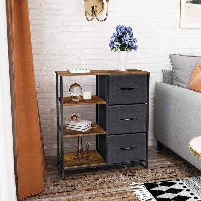 Kamiler Fabric Drawers Dresser with Shelves,Storage Tower Unit Organizer Bedroom Storage Cabinet,Entryway,Hallway,Living Room,Kitchen(Rustic Brown)