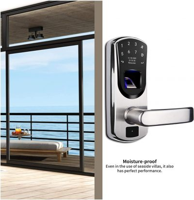 WeJupit V8 Smart Fingerprint Door Lock with Right Handle, Keyless Entry Stainless Steel Touchscreen with Electronic Keypads, Spare Key, Two-Factor Authentication, Biometric Digital Auto-Lock