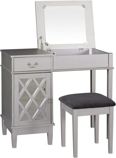 Benjara Wooden Vanity Set with Flip Top Mirror and Storage Compartment, Gray