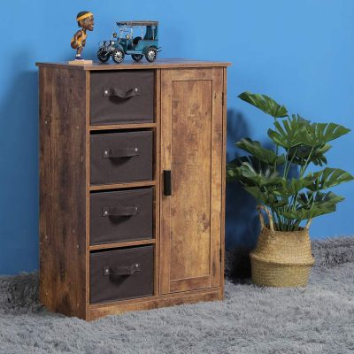 "USIKEY Dresser Storage Tower with 4 Removable Drawers and 1 Cabinet, Storage Cabinet with Shelves, 23.62"" L x 11.81"" W x 31.5"" H, Rustic Floor Cabinet, for Living Room, Bedroom, Rustic Brown"