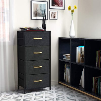 ROMOON 4 Drawer Fabric Dresser Storage Tower, Organizer Unit for Bedroom, Closet, Entryway, Hallway, Nursery Room - Dark Gray