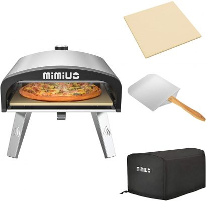 """only fire Mimiuo Portable Gas Pizza Oven with 13"""" Round Pizza Stone & 12 x 14 inch Foldable Pizza Peel - Universal Stainless Steel Gas Pizza Grilling Stove for Outdoor Cooking (Classic G-Oven Series)"""