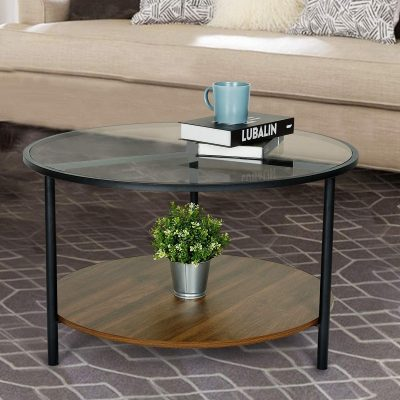 Moncot Round Coffee Table, Accent Table, 2-Tier Cocktail Table, Tempered Glass Top with Walnut Wooden Base and Sturdy Metal Frame, for Living Room, Dining Room, Tea, CT219-WN