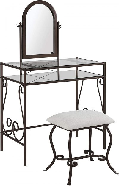 "Linon Dark Metal Set Table with Upholstered Stool Clarisse Vanity, 52.4"" x 31.8"" x 18.3"""