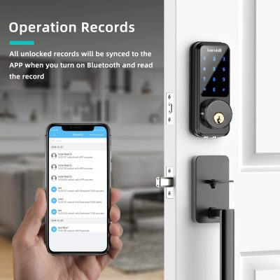 [2020 Newest] Smart Door Lock with Keypad, Keyless Entry Home with Your Smartphone, Bluetooth Digital Smart Deadbolt Door Lock Work with APP Control, Code and eKey, Auto Lock for Home Hotel Apartment
