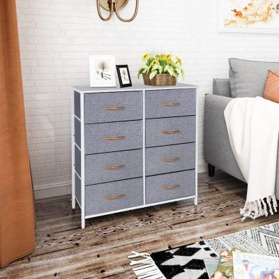 Kamiler Dresser with 8 Drawers, Tall Vertical Storage Organizer, 4-Tier Wide Drawer Dresser, Tower Unit for Bedroom/Hallway/Entryway/Closet (White)