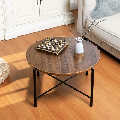 Aingoo Round Coffee Table Industrial Rustic Solid Wood Cocktail Accent Table,Sofa Table with X Metal Frame for Living Room,Entertainment Center for Gaming Computer Office Desk,Easy Assembly,Brown