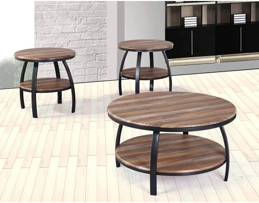 Artum Hill Yohanis Round Coffee Table in Fresh Brew with Round Table Top, Metal Legs, And Open Shelving