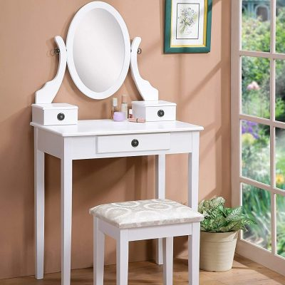 Roundhill Furniture Moniya White Wood Vanity Table and Stool Set (3415WH)