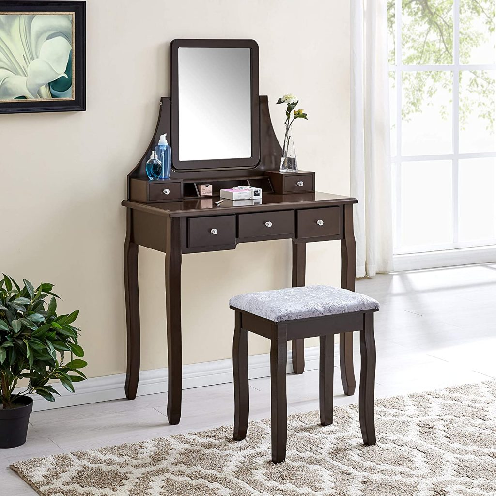 Halter Vanity Table with Adjustable Mirror and Upholstered Stool Set, Makeup Organizer and Dressing Table for Bedroom, Brown