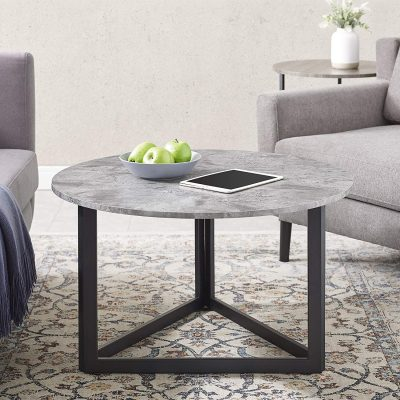 Walker Edison Modern Round Metal Base Coffee Table Living Room Accent Ottoman, 32 Inch, Dark Grey Concrete