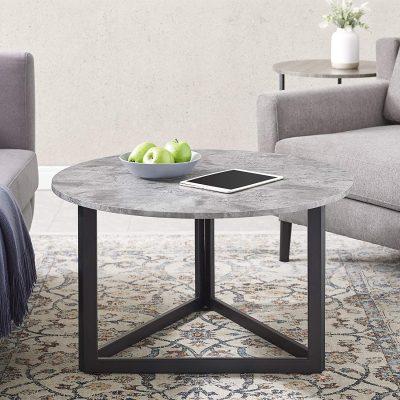 Walker Edison Modern Round Metal Base Coffee Table Living Room Accent Ottoman, 32 Inch, Dark Grey Concrete