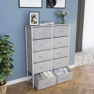 YITAHOME 10 Drawer Dresser - Fabric Storage Tower, Organizer Unit for Bedroom, Living Room, Hallway, Closets & Nursery - Sturdy Steel Frame, Wooden Top & Easy Pull Fabric Bins (Cool Gray)