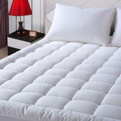 """EASELAND Twin XL Mattress Pad Pillow Top Mattress Cover Quilted Fitted Mattress Protector Extra Long Cotton Top 8-21"""" Deep Pocket Cooling Mattress Topper (39x80 Inches, White)"""