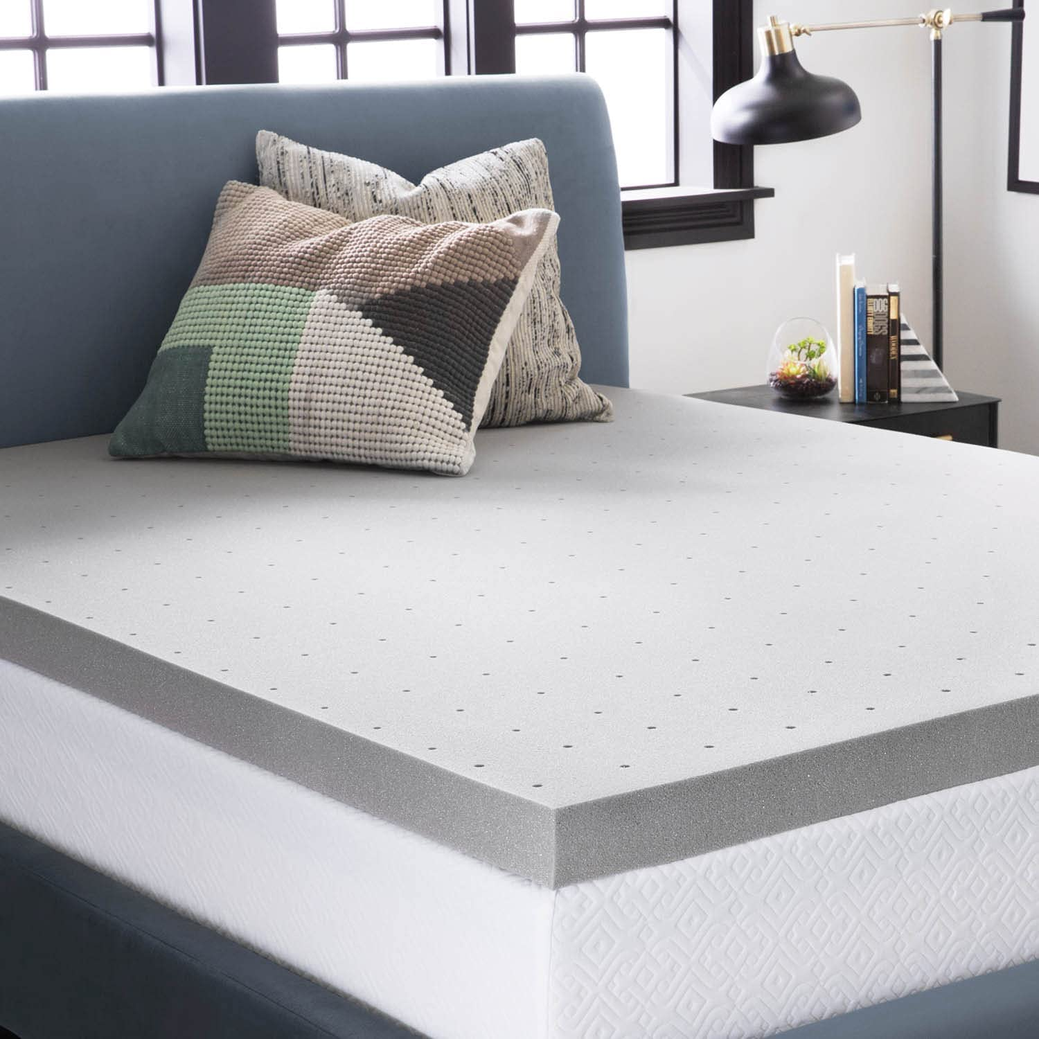 LUCID 3 Inch Bamboo Charcoal Memory Foam Mattress Topper - Twin, Topper Only,