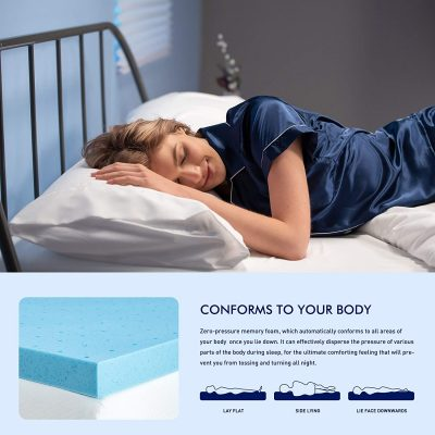 subrtex 2 Inch Memory Foam Mattress Topper Ventilated Gel Infused Bed Foam Topper for Pressure Relieving, CertiPUR-US Certified, Queen, Blue